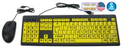 2 Big Bright Easy See Keyboard Yellow Large Print Letter Vis