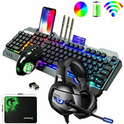 4in1 Gaming Keyboard Mouse Wireless LED Backlit Mechanical F