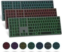 Bluetooth Keyboard with 7-Colors Backlit, Seenda Rechargeabl