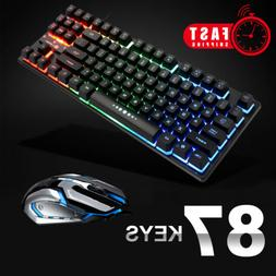 Computer Laptop Wired Gaming Mechanical Keyboard + Mouse LED