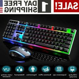Gaming Keyboard And Mouse Set Rainbow LED Wired USB For PC P