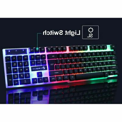 Computer Gaming Keyboard and Mouse Mechanical Feel Led