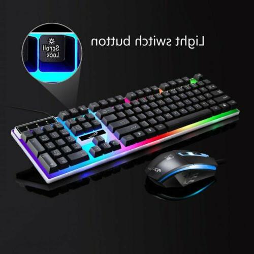 Gaming Keyboard Mouse Rainbow LED Wired For PC Slim Xbox