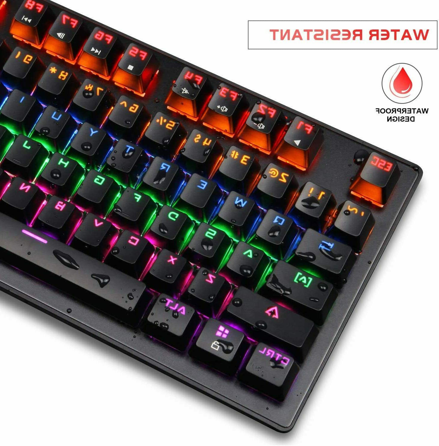 Gaming Keyboard with Blue Switches Keys Compact Multicolour LED