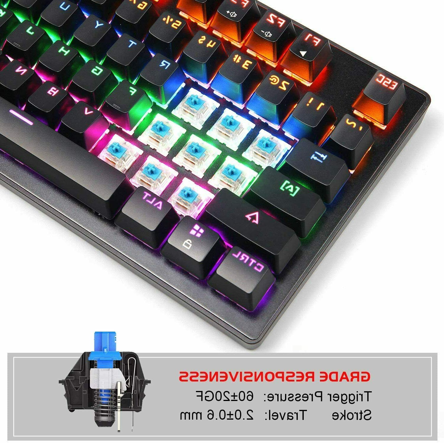 Gaming with Blue Switches Keys Compact Multicolour