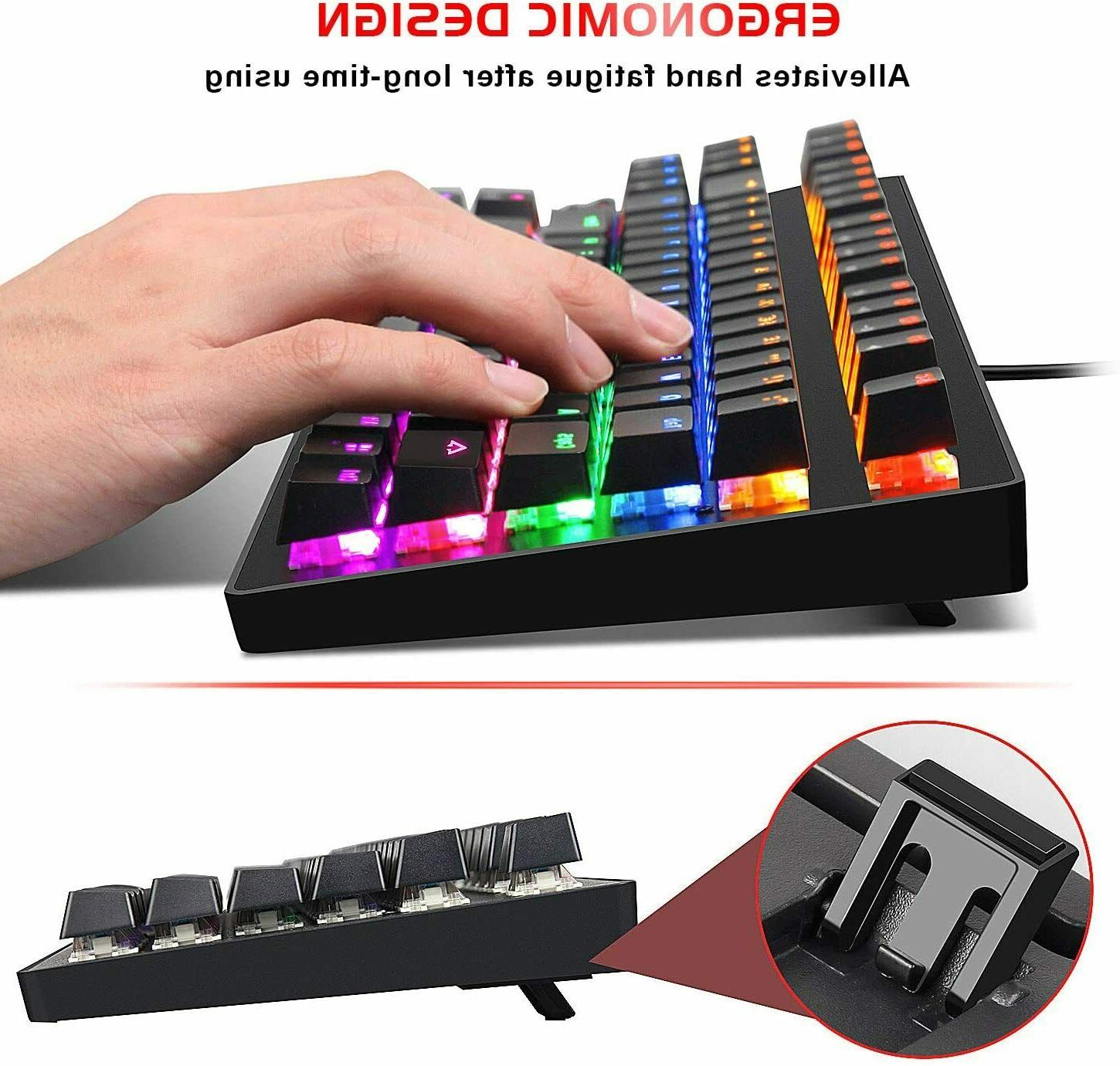 Gaming Keyboard Switches Keys Small Compact Multicolour LED