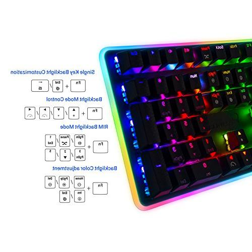 Rosewill Gaming Keyboard, RGB LED Computer Mechanical for Laptop, Software Professional Gaming Blue