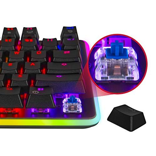 Rosewill Mechanical RGB Glow Computer Mechanical Keyboard for Mac, Software Gaming Blue Switch