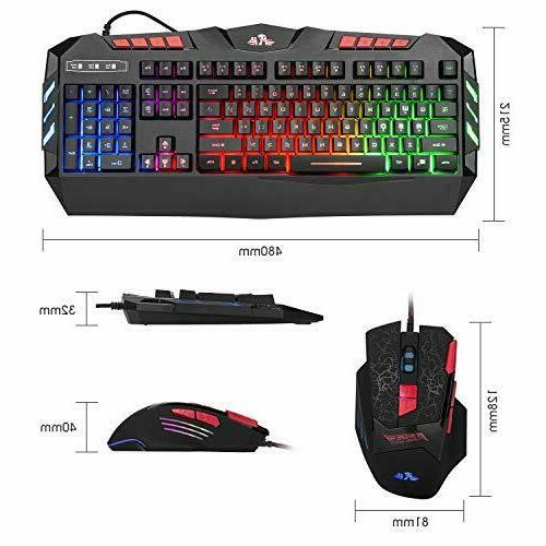 Rii RGB LED Backlight Wired Gaming Mouse Combo RK900 FPS