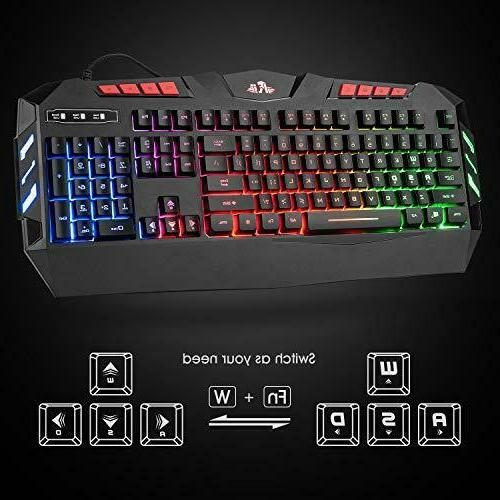 Rii RGB LED Backlight Wired Gaming Keyboard Mouse Combo PC FPS