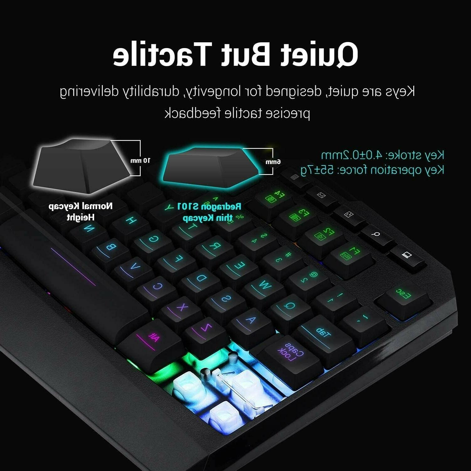 Redragon Wired RGB Backlit Keyboard and Mouse, Mouse