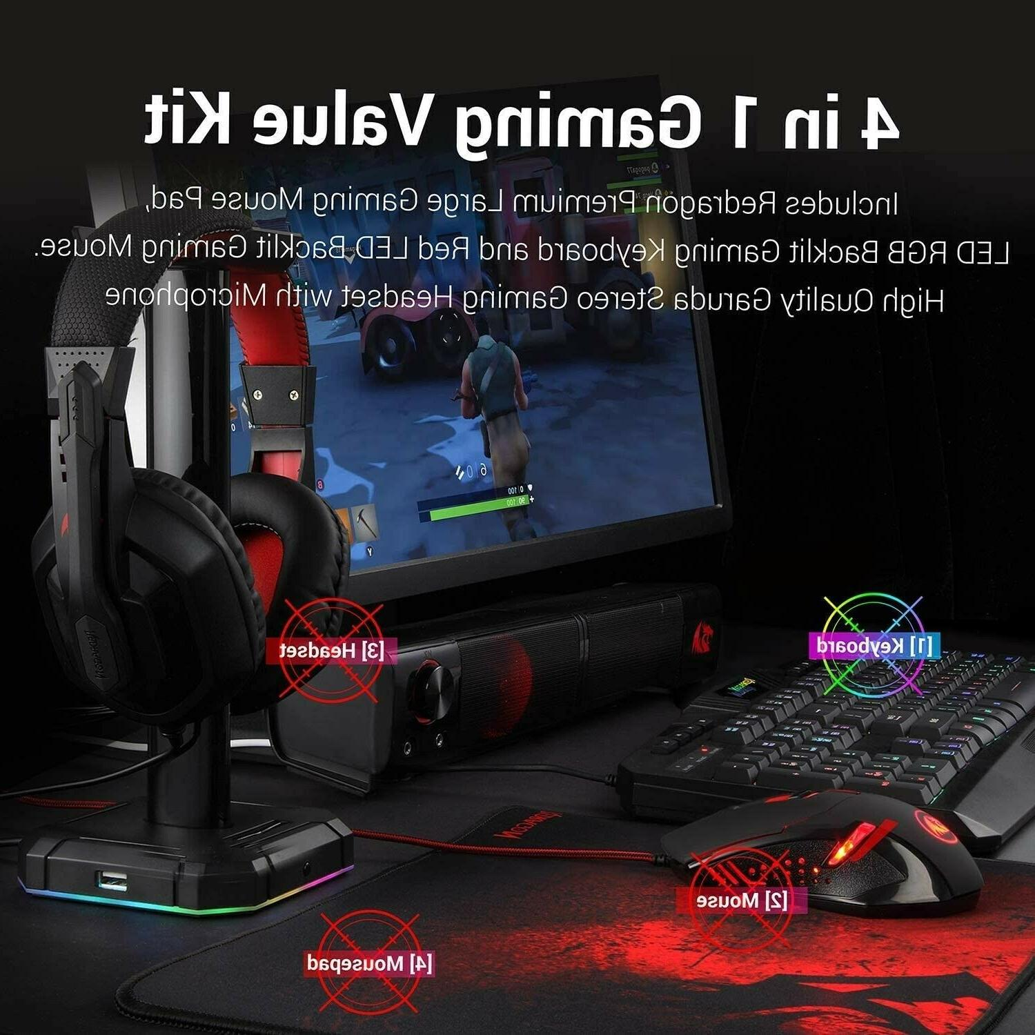 Redragon Backlit Keyboard and Mouse, Pad, Headset