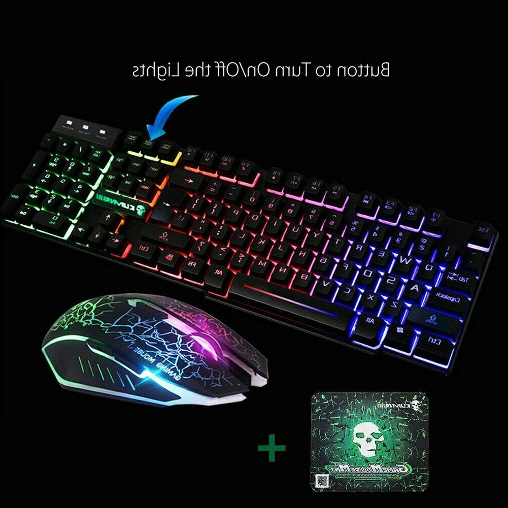 T6 Rainbow USB Wired Gaming Keyboard Pad Set PS3 PC