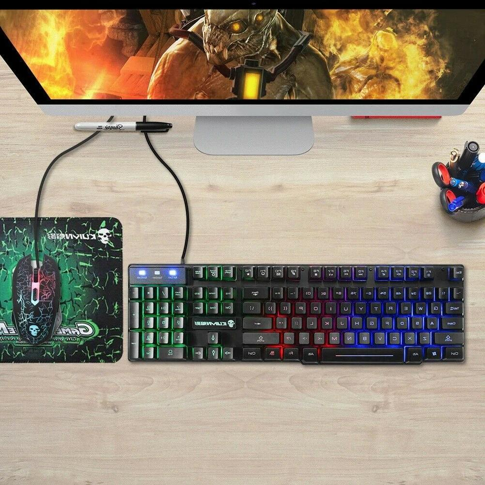 T6 Rainbow Wired Gaming Keyboard Mouse Pad Set For PS4 PS3