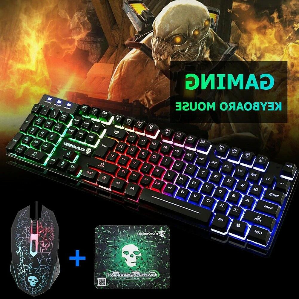T6 Backlit Wired Mouse Pad Set PS4 PS3
