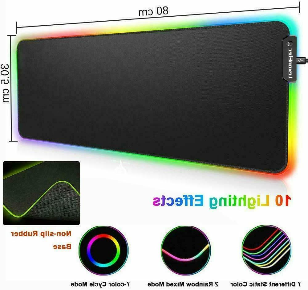 US Backlit Rechargeable Gaming + RGB Mousepad For PS4