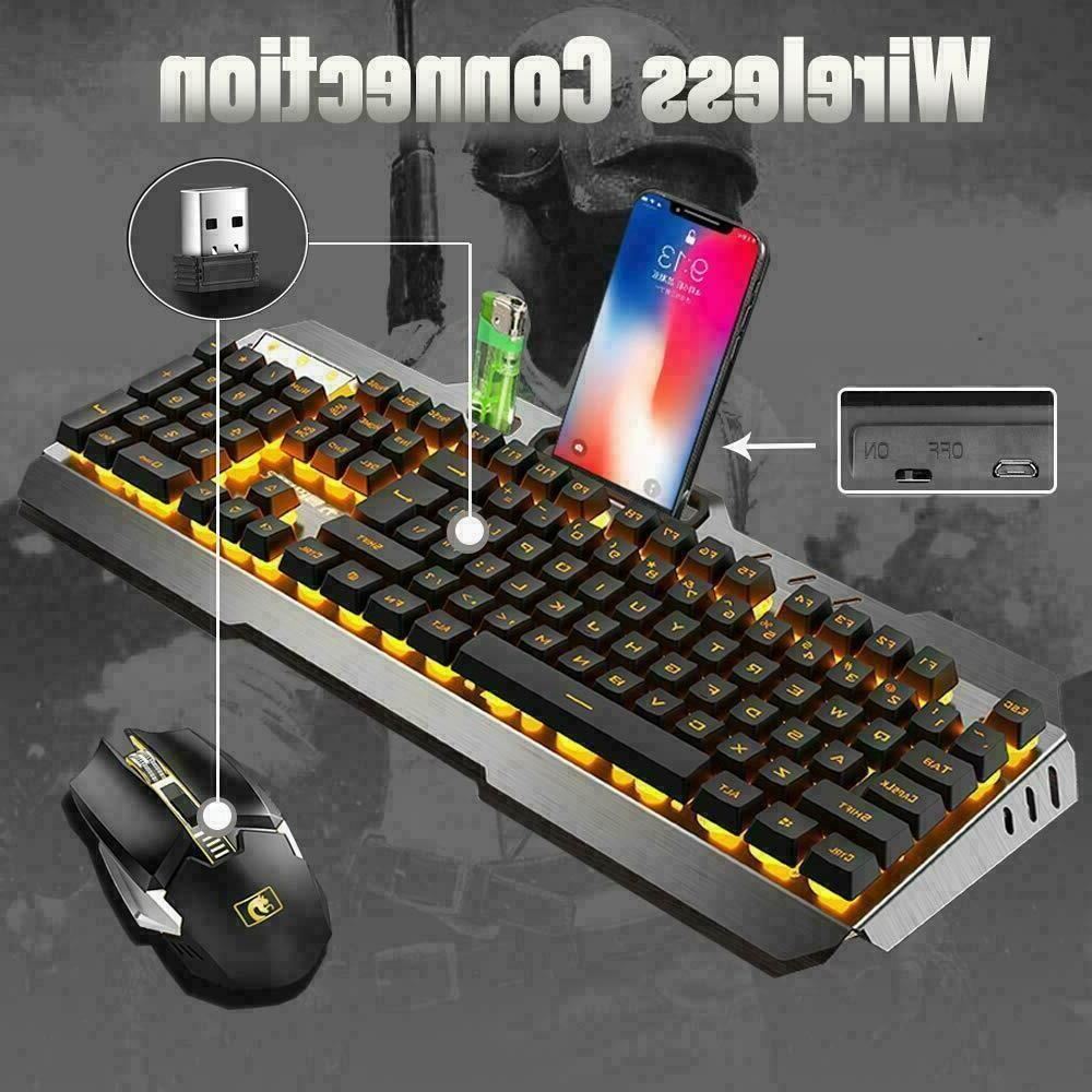 US Rainbow Rechargeable Gaming Keyboard Mouse + RGB PS4