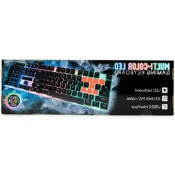 Multi-Color LED Gaming Keyboard USB 53.1 Inch Cable
