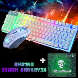 Rainbow LED Gaming Keyboard and Mouse Set Multi-Colored Chan