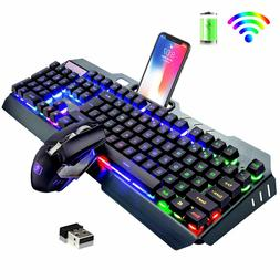 US Wireless Keyboard Mouse,Rainbow LED Backlit Rechargeable