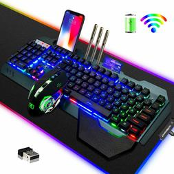 Wireless Keyboard Mouse and RGB Pad Rainbow LED Backlit Rech
